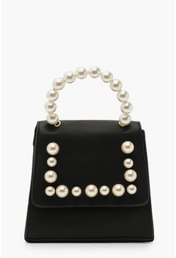 Womens Black Pearl Handle Mini Structured Grab Bag