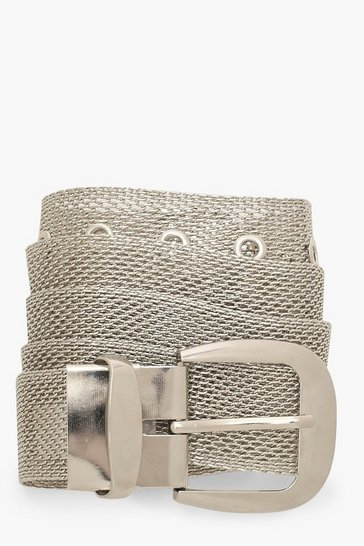 Womens Silver Chainmail Buckle Belt