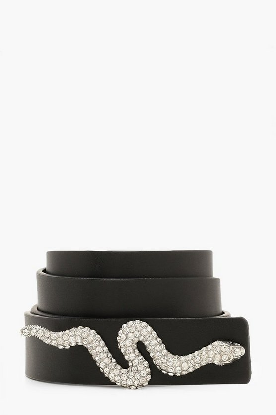 Black Diamante Snake Trim Belt