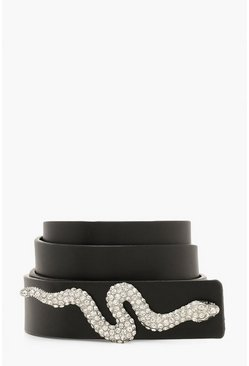 Dam Black Diamante Snake Trim Belt