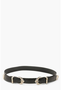 Double Buckle Croc Belt, Black, Donna
