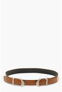 Double Buckle Croc Belt, Tan