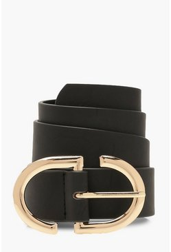 Womens Black Metal Trim Buckle Belt