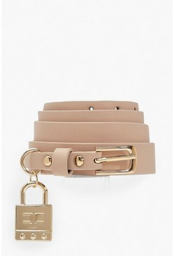Womens Beige Lock Trim Detail Buckle Belt