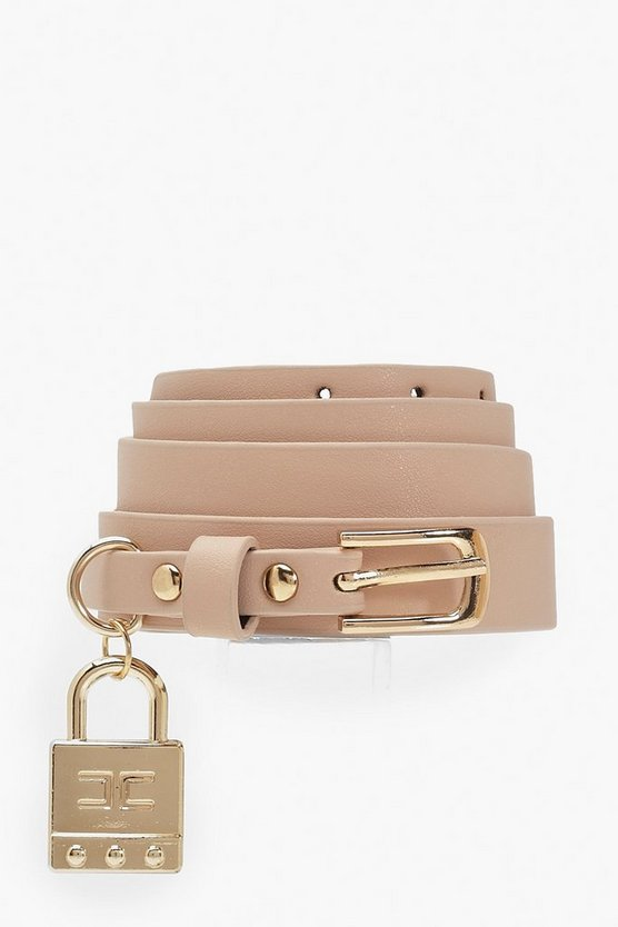 Lock Trim Detail Buckle Belt