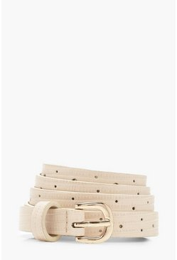 Womens Beige Skinny Croc PU Buckle Belt