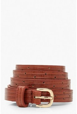 Skinny Croc PU Buckle Belt, Chocolate