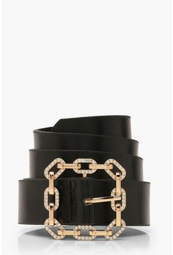 Womens Black Diamante Detail Buckle Belt