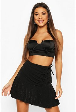 Womens Black Sparkle Ruched Peplum Hem Mini Skirt