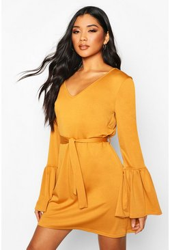 Flared Sleeve Belted Mini Dress, Mustard, Donna