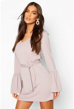 Silver Flared Sleeve Belted Mini Dress