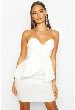 Ivory Bandeau Bonded Scuba Peplum Mini Dress