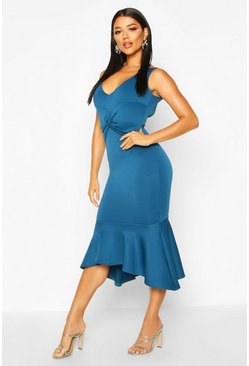 Womens Teal Twist Detail Frill Hem Midi Dress