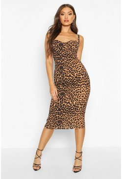 Womens Brown Leopard Print Cupped Midi Dress