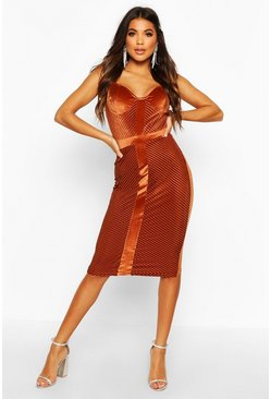 Womens Rust Velvet Panelled Midi Dress