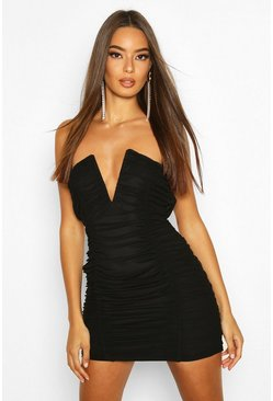 Black Bandeau V Bar Mesh Mini Dress