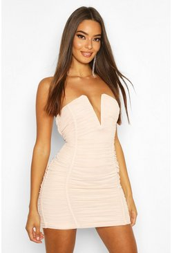 Womens Nude Bandeau V Bar Mesh Mini Dress