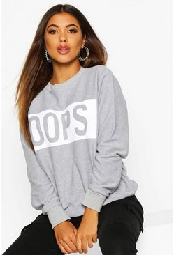 Womens Grey marl Oops Printed Sweat