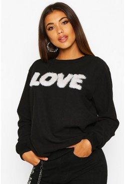 Womens Black Fur 'Love' Sweat