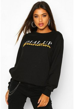 Womens Black Dial Up Generation Printed Sweat