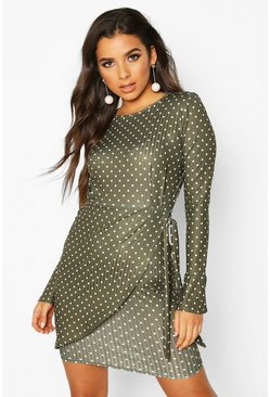Dam Khaki Mock Wrap Dress With Fluted Sleeves