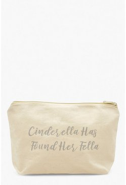 Womens White Cinderella Has Found Her Fella Make Up Bag