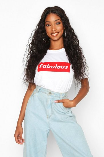 Womens White Fabulous Slogan T-Shirt