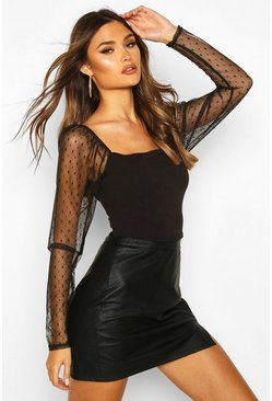 Black Dobby Mesh Sleeve Square Neck Top