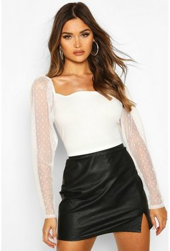 Dobby Mesh Sleeve Square Neck Top, White