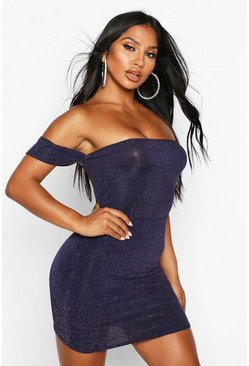 Womens Navy Metallic Off The Shoulder Bodysuit