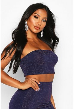 Womens Navy Metallic Bandeau