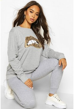 Womens Grey marl Sequin Lip Sweatshirt