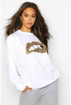 Womens White Sequin Lip Sweatshirt