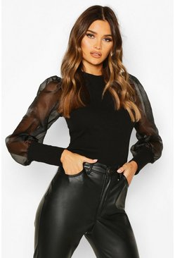 Organza Mesh Long Sleeve Top, Black