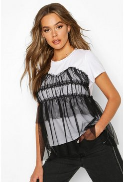 Womens Black Organza Mesh Layered T-Shirt