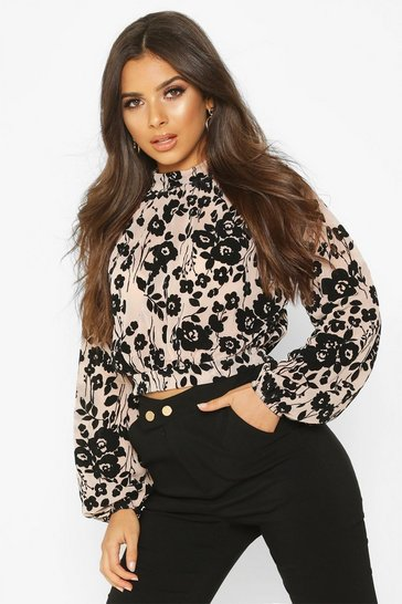 Womens Nude Floral Flock Print High Neck Crop