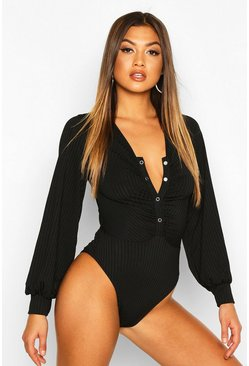 Black Ribbed Popper Ruched Long Sleeve Bodysuit