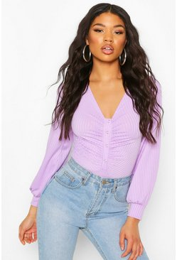 Lilac Ribbed Popper Ruched Long Sleeve Bodysuit