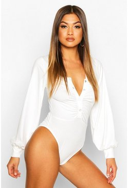 White Ribbed Popper Ruched Long Sleeve Bodysuit