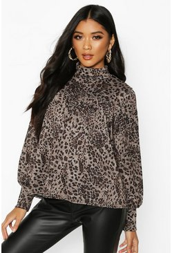 Womens Natural Leopard Print High Neck Smock