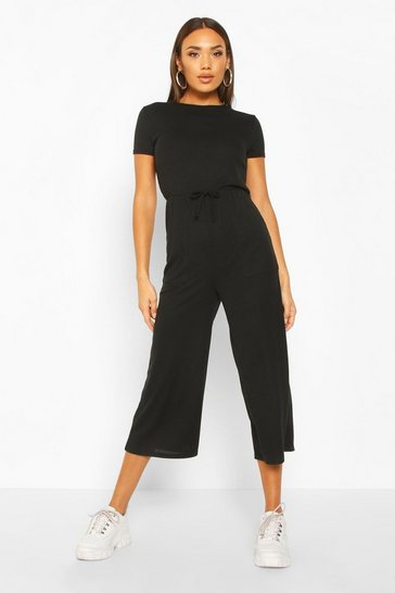 Womens Black Ribbed Culotte Jumpsuit