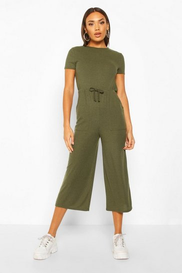 Womens Khaki Ribbed Culotte Jumpsuit