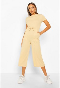Womens Stone Ribbed Culotte Jumpsuit