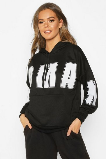 Womens Black Woman Oversized Slogan Hoodie