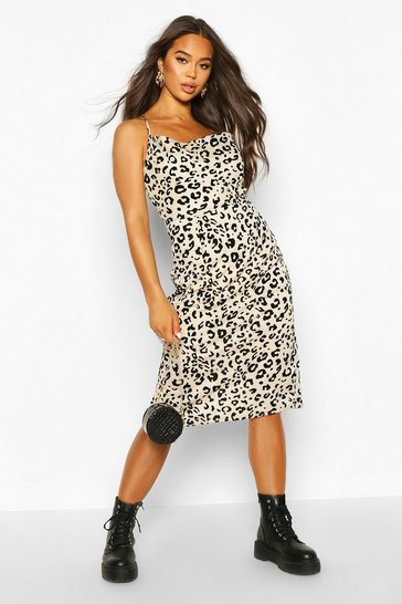 Womens Stone Cowl Front Leopard Print Midi Dress