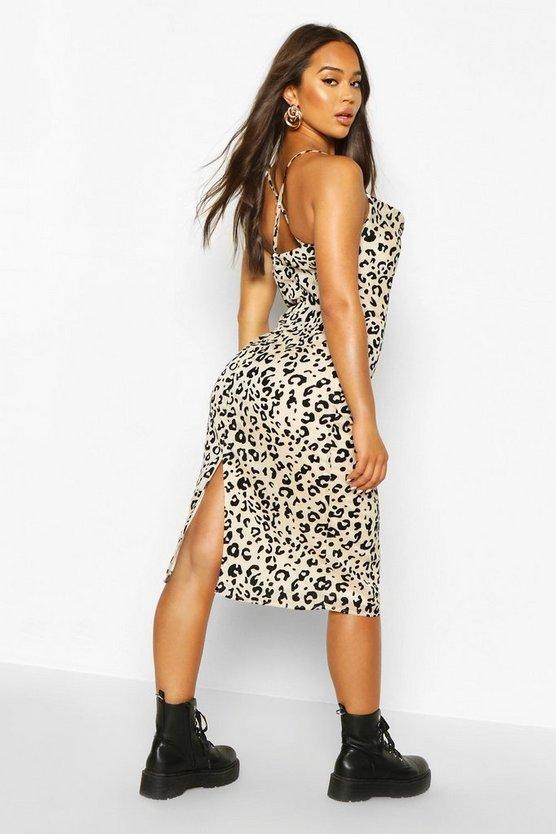 Cowl Front Leopard Print Midi Dress
