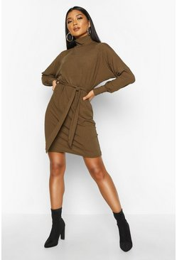 Womens Khaki Ribbed Balloon Sleeve Dress