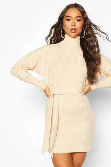 Stone Ribbed Balloon Sleeve Dress