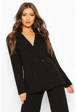 Womens Black Button Detail Oversized Duster