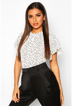 Womens White Polka Dot Frill Sleeve Woven Bodysuit